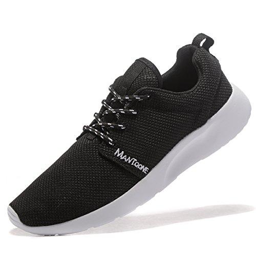 MANTOONE Männer Frauen Sport Laufschuhe Mode Atmungsaktives Mesh Weiche Sohle Beiläufige Athletische Leichte Unisex Sneakers Schwarz