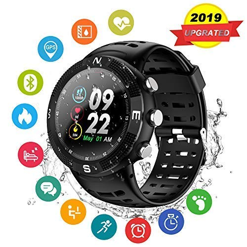 GPS Sport Watch,GPS Smart Watch Outdoor Waterproof Watch Multi-Function Mode for Tracking Running,Hiking,Heart Rate Monitor,Step Calorie Counter Smart Watches Fitness Tracker for Android & iOS (Black)