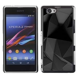 Be Good Phone Accessory // Dura Cáscara cubierta Protectora Caso Carcasa Funda de Protección para Sony Xperia Z1 Compact D5503 // Geometrical Modern Art Black Grey