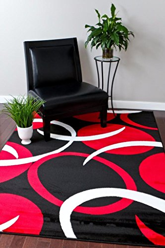 (1062 Red Black 5'2x7'2 Area Rugs Carpet Modern Abstract New)