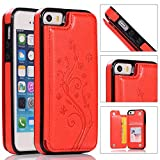 Back Wallet Case for iPhone 5/5S/SE with Stand,QFFUN Elegant Embossed Design [Butterfly Flower] Lightweight Slim Fit Leather Phone Case with Card Holder Protective Bumper Flip Cover - Red