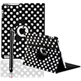 360 ROTATING FLIP LEATHER CASE COVER FOR THE NEW IPAD MINI (Black Polka)