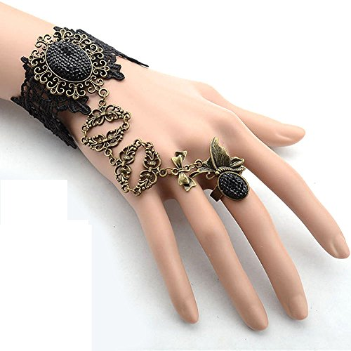 black floral lace bracelet - black beads pendant DIY charm bracelet with ring chain- gothic vintage beaded bridal wedding - Prom Queen Halloween Costume Diy