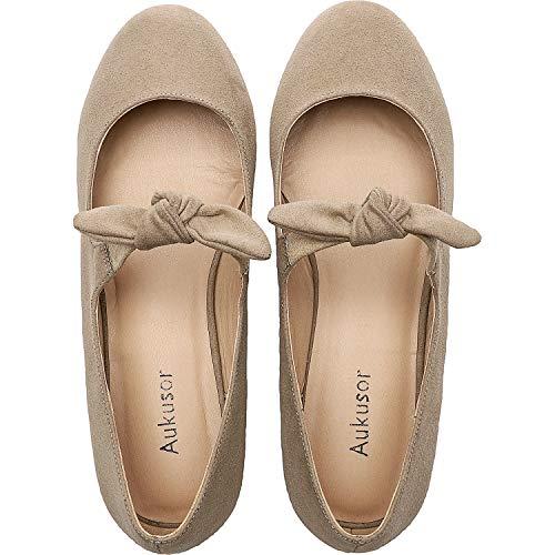 Women's Wide Width Flat Shoes - Comfortable Classic Pointy Toe Slip On Ballet Flat.(Beige 180902,10) ()