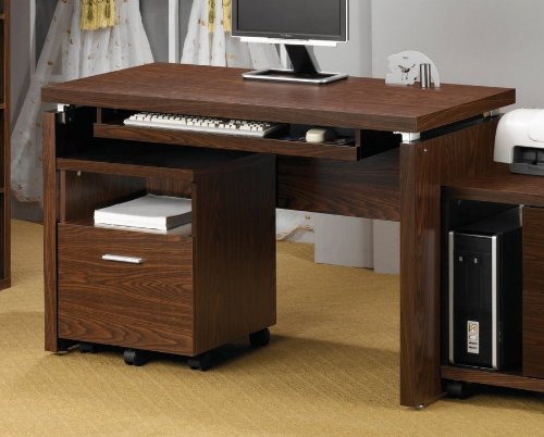 Coaster Peel Computer Desk with Keyboard Tray in Medium Brow