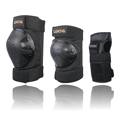 Lanova Child/Youth/Adult Protective Gear Set (Knee Pads and Elbow Pads with Wrist Guards) for Multi Sports Safety Protection Scooter Skateboard Bicycle Bicycle Hoverboard (BLACK, S)