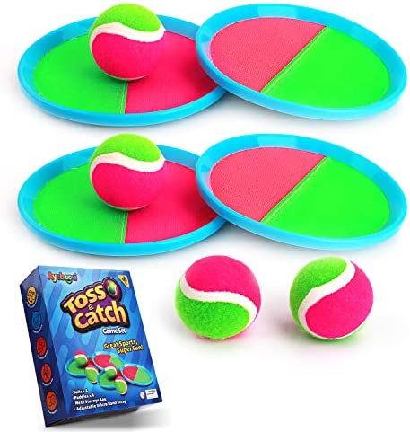 Ayeboovi Toss and Catch Ball Game Backyard Toy for Kids Paddle Game with 4 Paddles and 4 Balls Children's Day Gift [Upgraded Version]