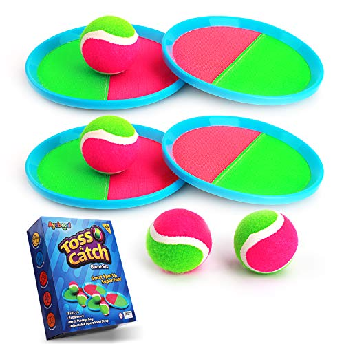 Ayeboovi Toss and Catch Ball Game Set Paddle Game Ball Set with 4 Paddles and 4 Balls[Upgraded Version] (Baseball Paddle)