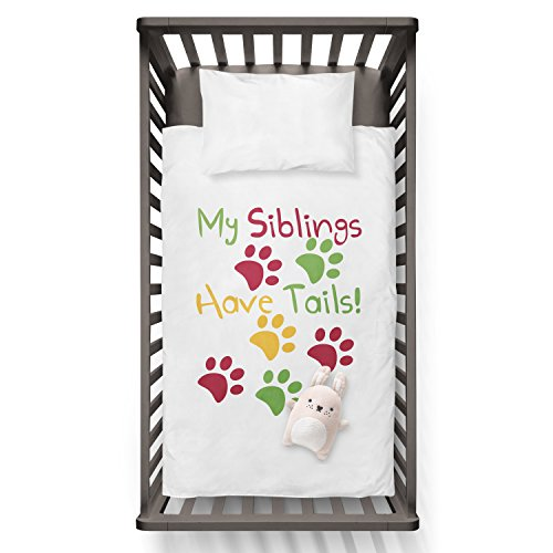 My Siblings Have Tails Funny Humor Hip Baby Duvet /Pillow set,Toddler Duvet,Oeko-Tex,Personalized duvet and pillow,Oraganic,gift by Jobhome
