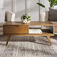 Walker Edison Mid Century Modern Coffee Table Living Room Ottoman Storage Shelf, 22 Inch, Caramel