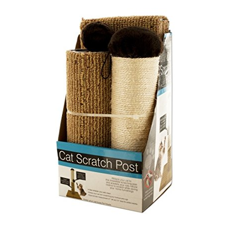 Multi-textured Cat Scratch Post with Dangling Toy (Pack of 3)