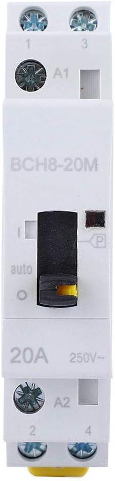 1NO1NC Interrupteur de Commande Manuel de contacteur de m/énage BCH8-20M avec Fonction Manuelle 2P20A 24V