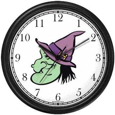 Witch Head No.1 Wall Clock by WatchBuddy Timepieces Hunter Green Frame