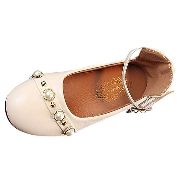 Zapatos para niñas Chicas Elegantes 🎀 Moda Perla 28 Zapatos Casuales Antideslizantes Suelas Suaves - Zapatos de Princesa - Salón Rojo Zapatos para niñas ...