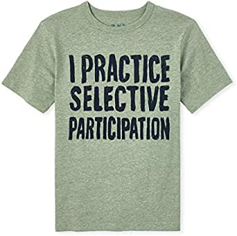 The Children's Place Boys' Selective Participation Graphic T-Shirt, Olive Press