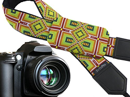 Inspired by Native Americans Pocket Camera Strap. Green, Purple, Yellow Ornaments. Bright Pocket Camera Strap with Personalization Option. ()