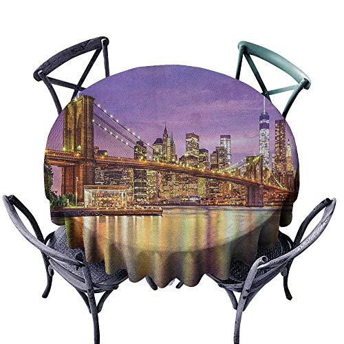 (ScottDecor Decorative Round Tablecloth Outdoor Picnics New York,NYC Exquisite Skyline Manhattan Broadway Old Neighborhood Tourist Country Print, Purple Gold Diameter 50