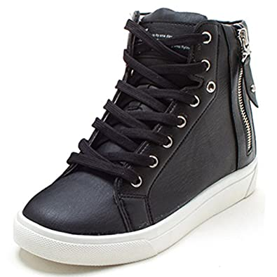 1cc82048f4ff EpicStep Women s Casual High Tops Zip Lace Up Hidden Wedges Shoes Fashion  Sneakers lovely