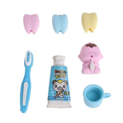 Kimruida - Juego de 4 gomas de borrar para pasta de dientes, cepillo de dientes