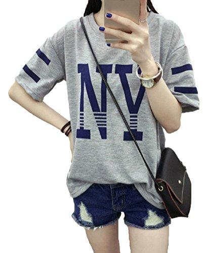 へこみ死の顎まともな【Smile LaLa】 レディース tシャツ カットソー トップス 半袖 夏 大きい ゆったり シンプル カジュアル NY