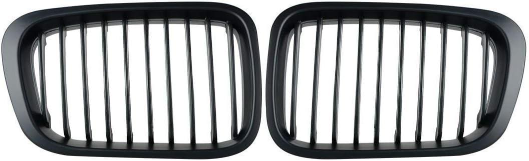 Matte Black 2X Front Upper Kidney Grille Compatible for 1998-2001 E46 Sedan 3-Series
