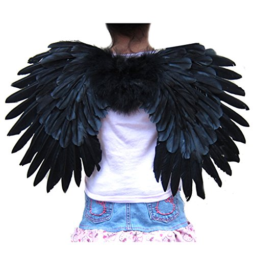 SACAS Small Black Feather Angel Wings for kids, girls, or boys with Free Halo (Black Feather Wings)