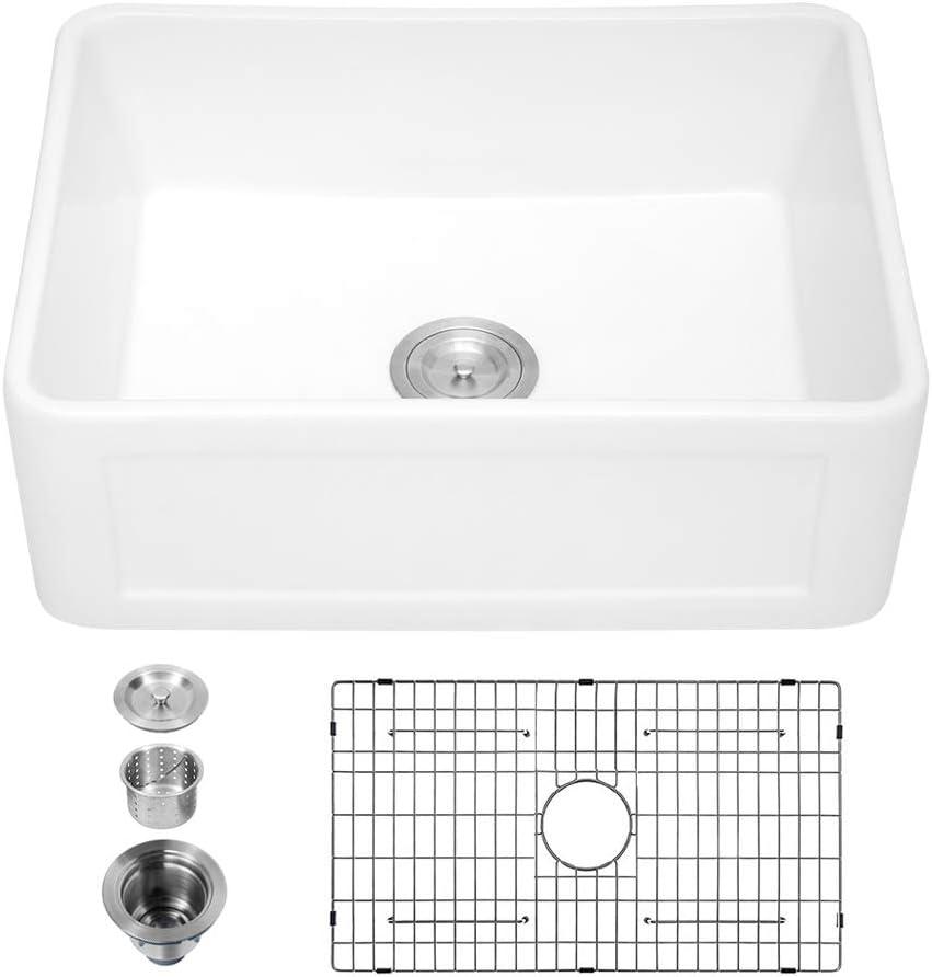 24 Farmhouse Sink White - Sarlai 24 Inch Small White Kitchen Sink Ceramic Porcelain Fireclay Apron Front Reversible Single Bowl Farmer Sink
