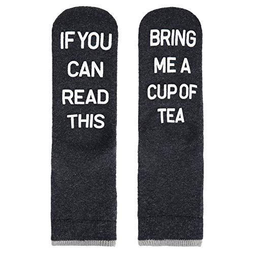 Men Women Funny Novelty Thick Wool Tea Socks Non-slip Slipper Crew