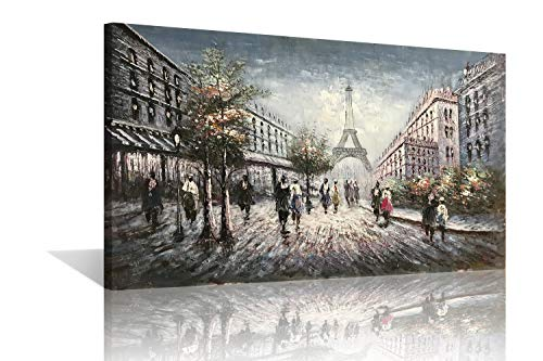 (Diathou 24x36 inch Classic Fantasy Paris Street Scene City Chic with The Eiffel Tower Romance Decorative Gifts for Living Room, Bedroom and Office Art 100% Hand-Painted Abstract Oil Painting)