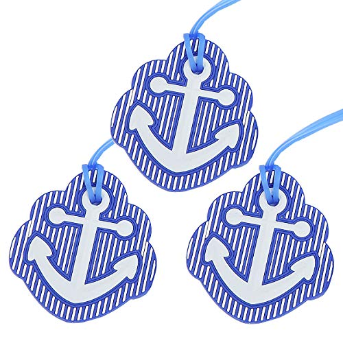 Anchor Luggage Tags, Travel Suitcases Identifiers Labels, Silicone Cruise Baggage Tag Set 3 Pack ()