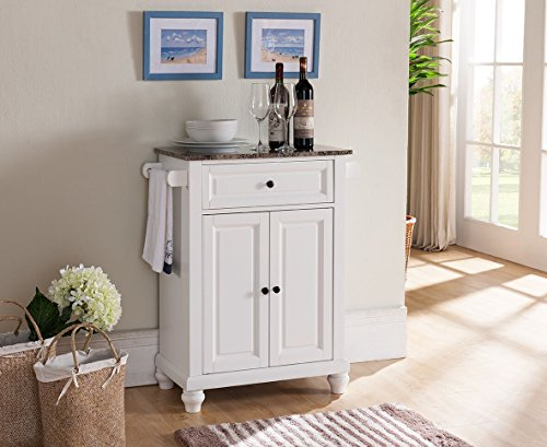 Kings Brand Furniture Kitchen Island Storage Cabinet with Marble Finish Top, - Island Marble Kitchen