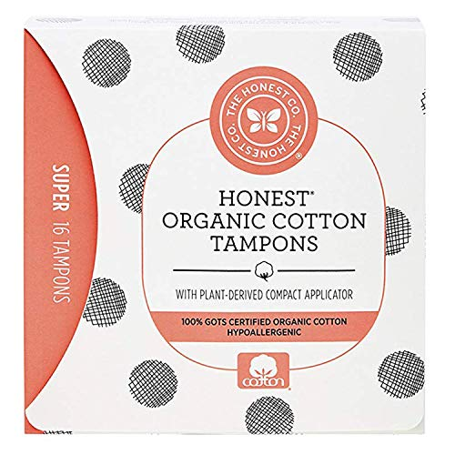 🥇 The Honest Company Organic Cotton Tampons with Plant-Based Compact Applicator | Super | Hypoallergenic & Breathable | GOTS-Certified Organic Cotton | Feminine Hygiene Products | 16 Count