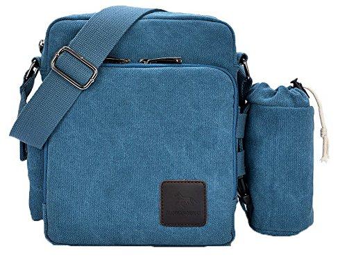 AalarDom Femme La vie quotidienne Mode Zippers Toile Sacs à bandoulière Bleu