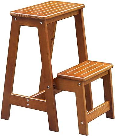 Taburete de escalera de madera de pino Taburete antideslizante de 2 peldaños Cambio de zapatos Taburete Escalera plegable Escalera alta Home Garden Kitchen Tool Escalera Taburete, 294855cm (Color: A): Amazon.es: Hogar