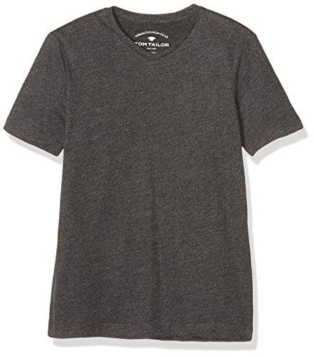 TOM TAILOR Kids Jungen T-Shirt Basic V-Neck Tee, Grau (Dark Stone Melange 2638), 176
