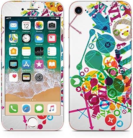 igsticker iPhone SE 2020 iPhone8 iPhone7 専用 スキンシール 全面スキンシール フル 背面 側面 正面 液晶 ステッカー 保護シール 008196 ユニーク カラフル レインボー ハート