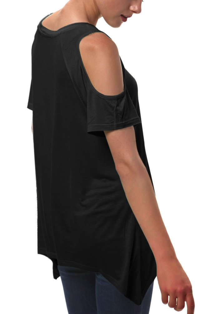 Urban CoCo Women's Vogue Shoulder Off Wide Hem Design Top Shirt - X-Large - Black by Urban CoCo (Image #5)