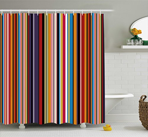 Abstract Shower Curtain by Ambesonne, Vibrant Colored Stripes Vertical Pattern Funky Modern Artistic Tile Illustration, Fabric Bathroom Decor Set with Hooks, 84 Inches Extra Long, - Funky Curtain