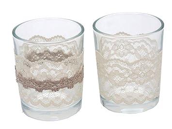 2x Teelichtglas Eva Vintage Hochzeit Tischdeko Deko Taupe Creme