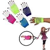 Dazzling Toys Assorted Fingerless Diva Fishnet Wrist Gloves - Short. Pack of 6