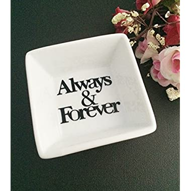 Always & Forever Mini White Porcelian Couples Ring Dish