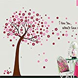 COFFLED Vinyl Wall Decal Stickers,Pink Color Cherry Blossom Tree,Removable &Easy to apply Wall Decoration