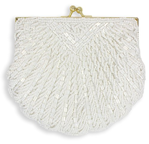 La Regale Shell Beaded Evening Clutch, White