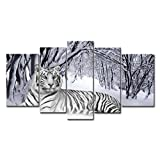 5 Piece Wall Art Painting White Tiger In Snow Forest Prints On Canvas The Picture Animal Pictures Oil For Home Modern Decoration Print Decor For Boys Bedroom