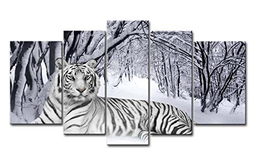 Canvas Print Wall Art Painting For Home Decor,White Tiger In Snow Forest 5 Pieces Panel Paintings Modern Giclee Stretched And Framed Artwork Oil The Picture For Living Room Decoration,Animal Pictures Photo Prints On Canvas Tiger Wall Art Painting