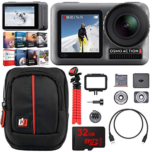 DJI Osmo Action 4K HDR Camera with 2 Touch Displays 11M Waterproof 4K Ultra HD Video 12MP Adventurer's Bundle Including Case Tripod High Speed 32GB Memory Card and Photo Video Editing Software Kit