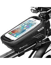 ENONEO Fahrrad Handytasche Wasserdicht mit TPU Touchscreen Fahrradtasche Rahmentasche Fahrrad Oberrohrtasche für iPhone 8 Plus/X/XS Max/XR/Samsung S8 Plus/S9 Handy bis zu 6,6 Zoll (Schwarz)
