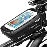 ENONEO Bike Frame Bag Waterproof Cycling Bicycle Frame Pannier with High Sensitive Touchsreen Cycle Top Tube Bags for iPhone 8 Plus/X/XS Max/XR/Samsung S8 Plus/S9 Plus Phone up to 6.6 Inch (Black)