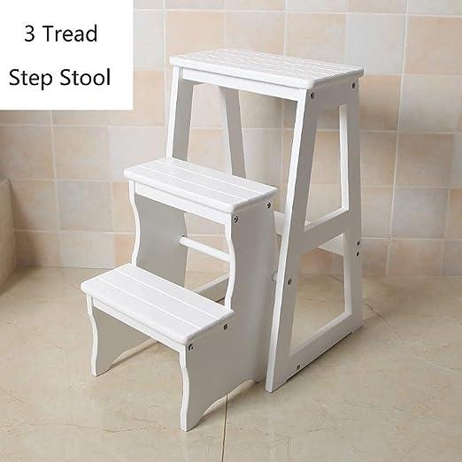 QTUB Escalera de madera de 3 niveles Escalera plegable Escalera ...