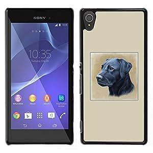 // PHONE CASE GIFT // Duro Estuche protector PC Cáscara Plástico Carcasa Funda Hard Protective Case for Sony Xperia T3 / Black Labrador Oil Painting Retriever Dog /